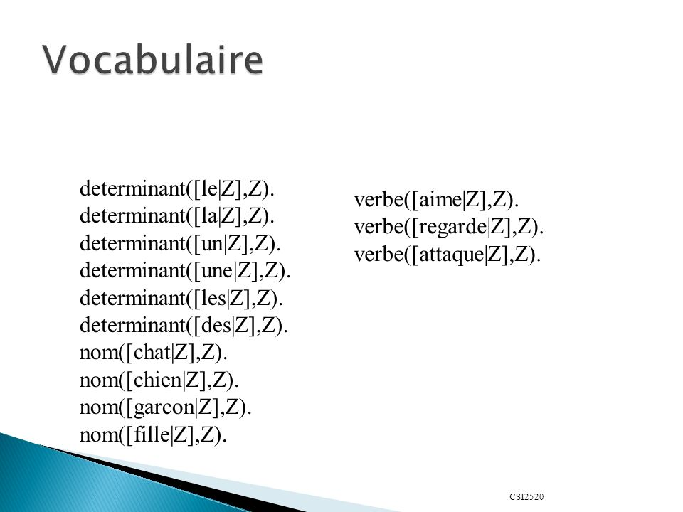 Vocabulaire determinant([le|Z],Z). verbe([aime|Z],Z).